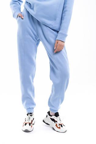 Штаны женские джогеры теплые на флисе зимние спортивные Basic Intruder голубые Oversize S/M, фото 2