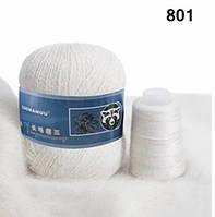Пряжа Пух Норки Состав 95% Пух Норки 5%ПА, 350 м/50 гр. Белый.