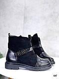 Женские ботинки ДЕМИ черные эко-замш + кожа весна- осень, фото 2
