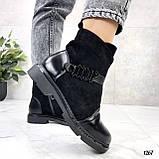 Женские ботинки ДЕМИ черные эко-замш + кожа весна- осень, фото 3