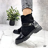 Женские ботинки ДЕМИ черные эко-замш + кожа весна- осень, фото 4