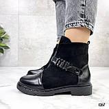 Женские ботинки ДЕМИ черные эко-замш + кожа весна- осень, фото 6