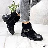 Женские ботинки ДЕМИ черные эко-замш + кожа весна- осень, фото 7