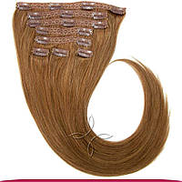 Натуральные европейские волосы на заколках 50 см 140 грамм, Русый темный №08