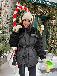 Женский куртка со вставкой из эко-меха барашка с поясом (в расцветках)