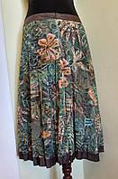 Летняя плиссированная юбка из зелено-желтой сеточки в цветы Solar