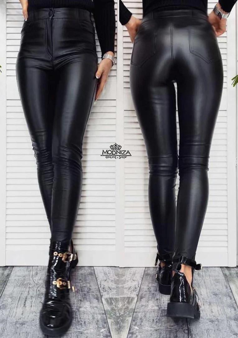 "Женские теплые кожаные штаны на флисе ""Kors"" | Батал"