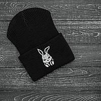 Мужская | Женская шапка Intruder черная, зимняя Bunny logo