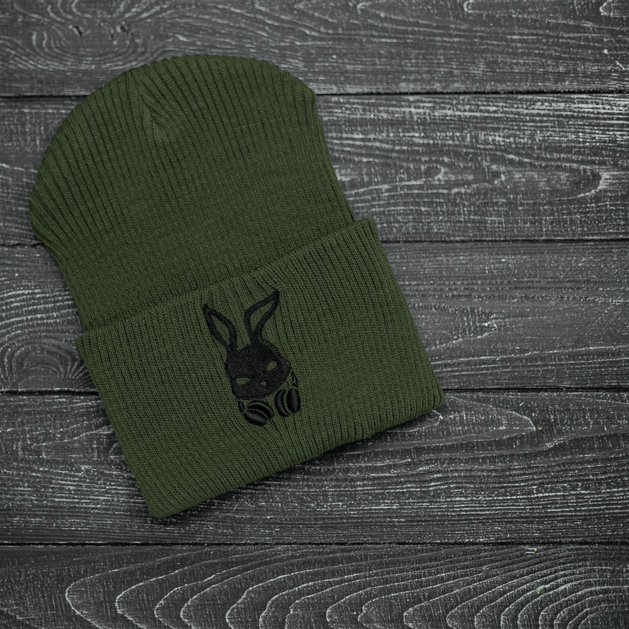 Мужская | Женская шапка Intruder хаки, зимняя bunny logo зеленая