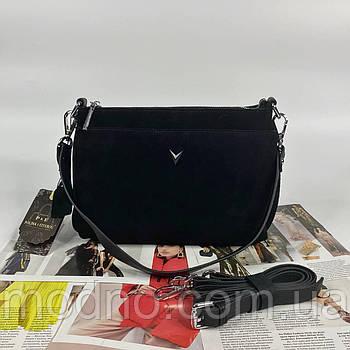 Жіноча замшева сумка крос-боді на три відділення Polina & Eiterou