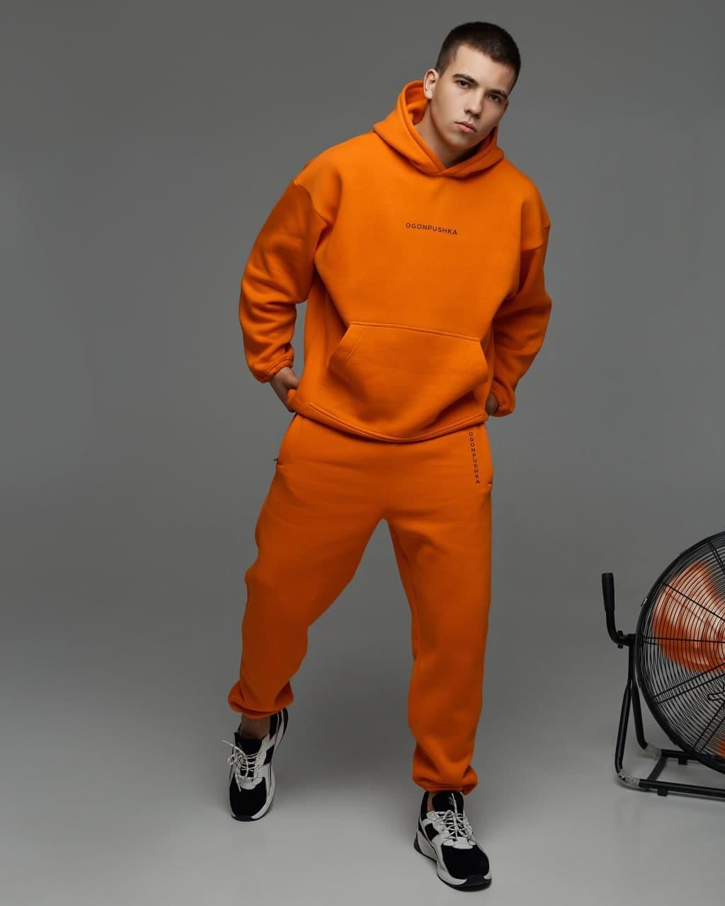 Теплый спортивный костюм оверсайз Пушка Огонь Scale оранжевый