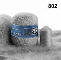 Пряжа Пух Норки Состав 95% Пух Норки 5%ПА, 350 м/50 гр. Светло-серый.