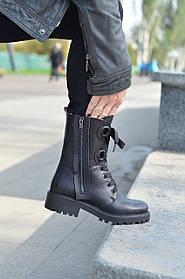 Женские ботинки кожаные осение черные Carlo Pachini 4-2506/19-14