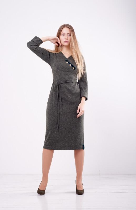 Плаття трикотажне по фігурі хакі міді