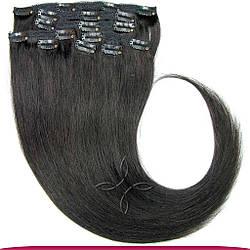 Натуральные Европейские Волосы на Заколках 50 см 100 грамм, Черный №1В