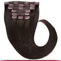 Натуральные европейские волосы на заколках 50 см 100 грамм, Черный шоколад №01C