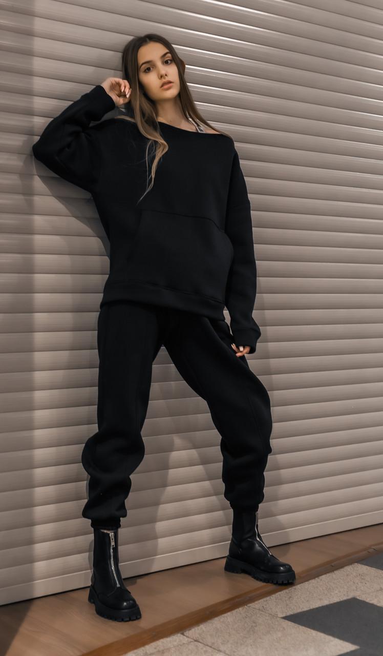 Костюм женский спортивный зимний на флисе Basic Oversize черный осенний весенний