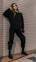 Костюм женский спортивный зимний на флисе Basic Oversize черный осенний весенний, фото 1