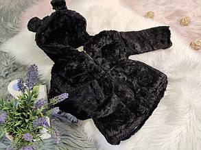 Шубка детская на девочку капюшон с ушками черная 2-6 лет осень- еврозима, фото 2