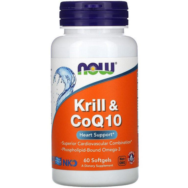 """Масло криля с коэнзимом Q10 NOW Foods """"Krill & CoQ10"""" оmega-3 (60 гелевых капсул)"""