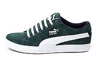Мужские кожаные кеды Puma SUEDE Green (реплика)