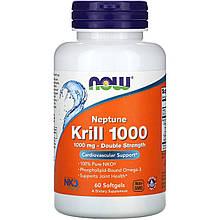 "Масло кріля NOW Foods ""Neptune Krill 1000"" омеда-3, 1000 мг (60 гельових капсул)"