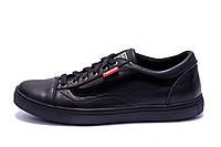 Мужские кожаные кеды Vans Clasic Black (реплика)
