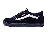 Мужские кожаные кеды Vans Clasic Blue (реплика)