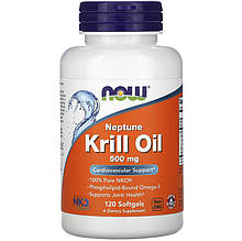 """Масло крилю NOW Foods """"Neptune Krill Oil"""" омеда-3, 500 мг (120 гельових капсул)"""