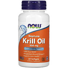 """Масло крилю NOW Foods """"Neptune Krill Oil"""" омеда-3, 500 мг (60 гельових капсул)"""
