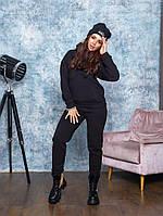 Спортивный  теплый костюм  женский стильный, оригинальный с шапкой черного цвета, фото 1