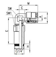 FAC08-G1/4 Фитинг Угловой удлинённый