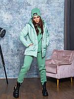 Теплий костюм трійка молодіжний :куртка,спортивний костюм,шапка кольору м'ята, фото 1