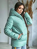 Куртка зимняя молодежная с капюшоном мятного цвета