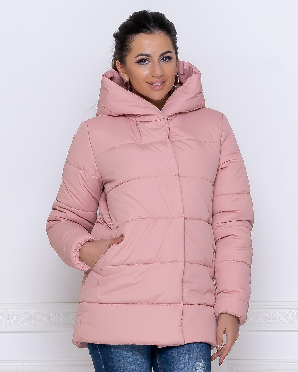 Куртка зимова жіноча пудра коротка з капюшоном 44-50р.