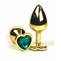 Анальная пробка металл сердечко золотая L + мешочек, фото 1