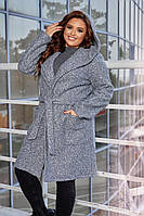 Теплый женский кардиган букле с капюшоном серого цвета
