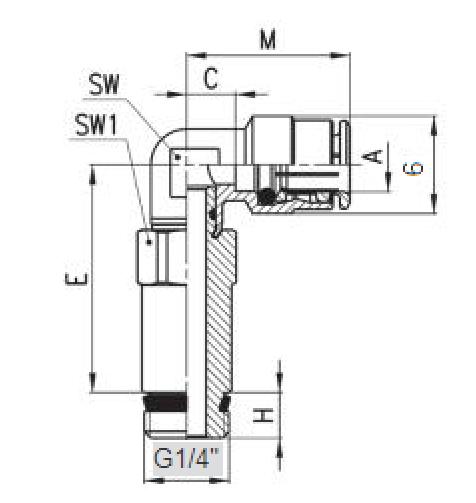 FAC06-G1/4 Фитинг Угловой удлинённый