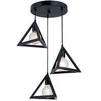 Люстра Подвесная в стиле лофт треугольник SVLIGHT трехламповая 250/3 черный