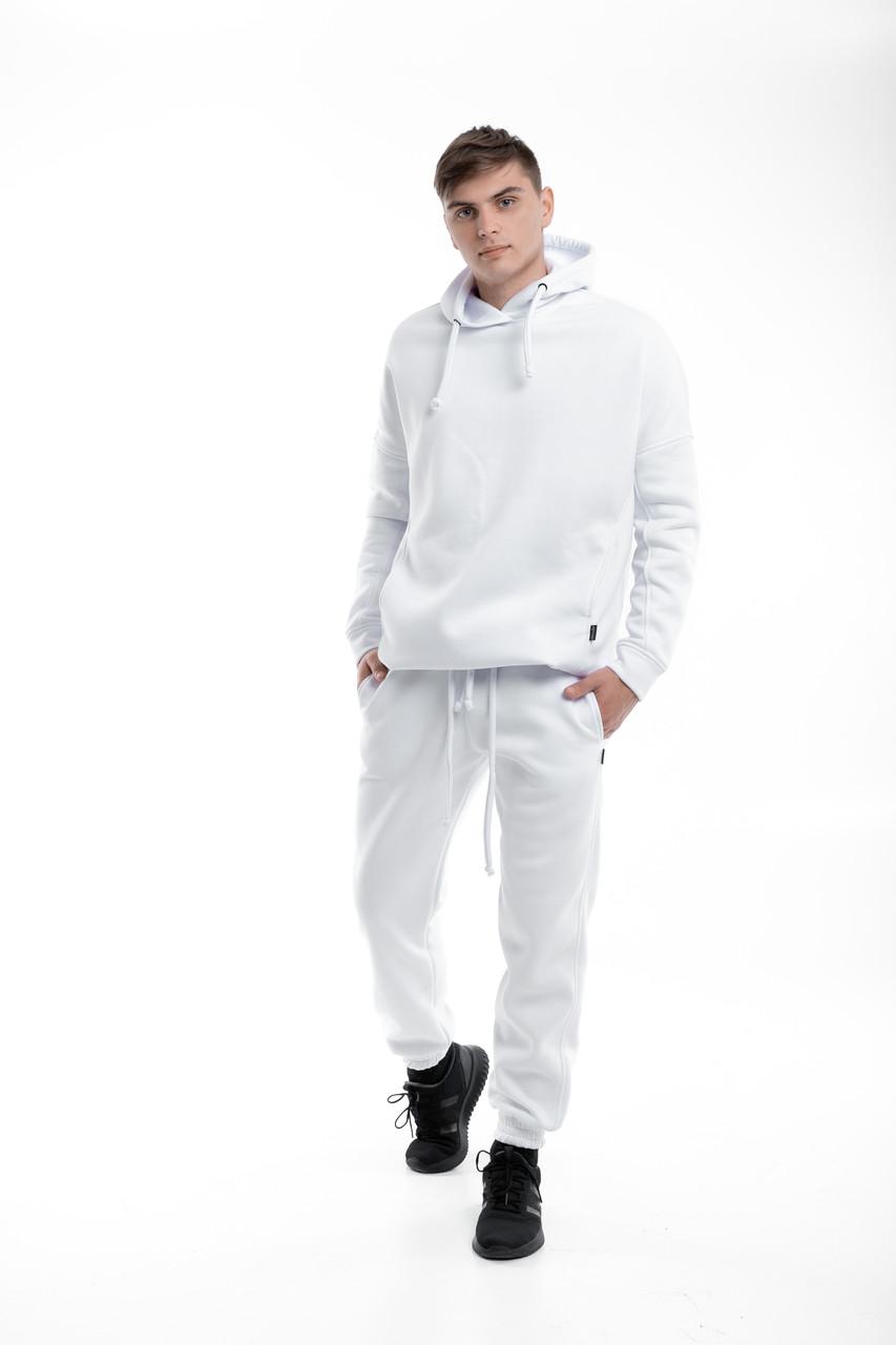 Костюм мужской спортивный зимний Oversize Intruder белый Худи толстовка на флисе+штаны белые теплые+Подарок