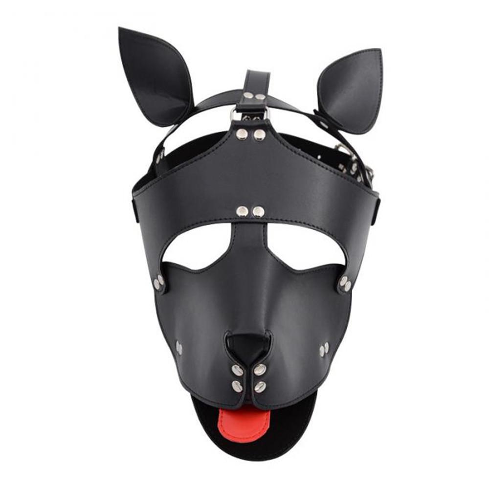 БДСМ шкіряна маска собаки з мовою