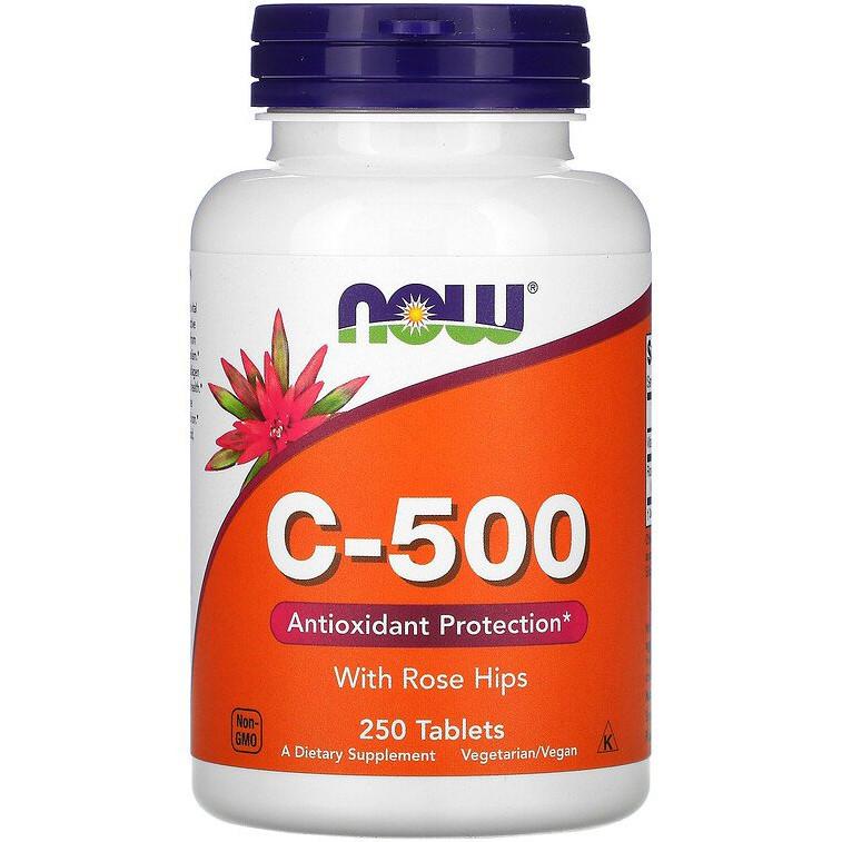 """Витамин С + шиповник NOW Foods """"C-500 with Rose Hips"""" (250 таблеток)"""