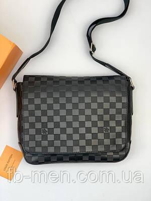Кожаная сумка-мессенджер Луи Виттон | Сумка в стиле Луи Виттон черная| Плечевая сумка Луи Виттон мужская