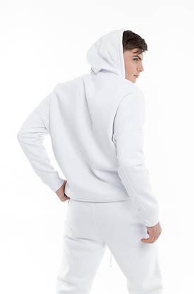 Худи Мужское Intruder белое Oversize на флисе спортивная кофта теплая, фото 2