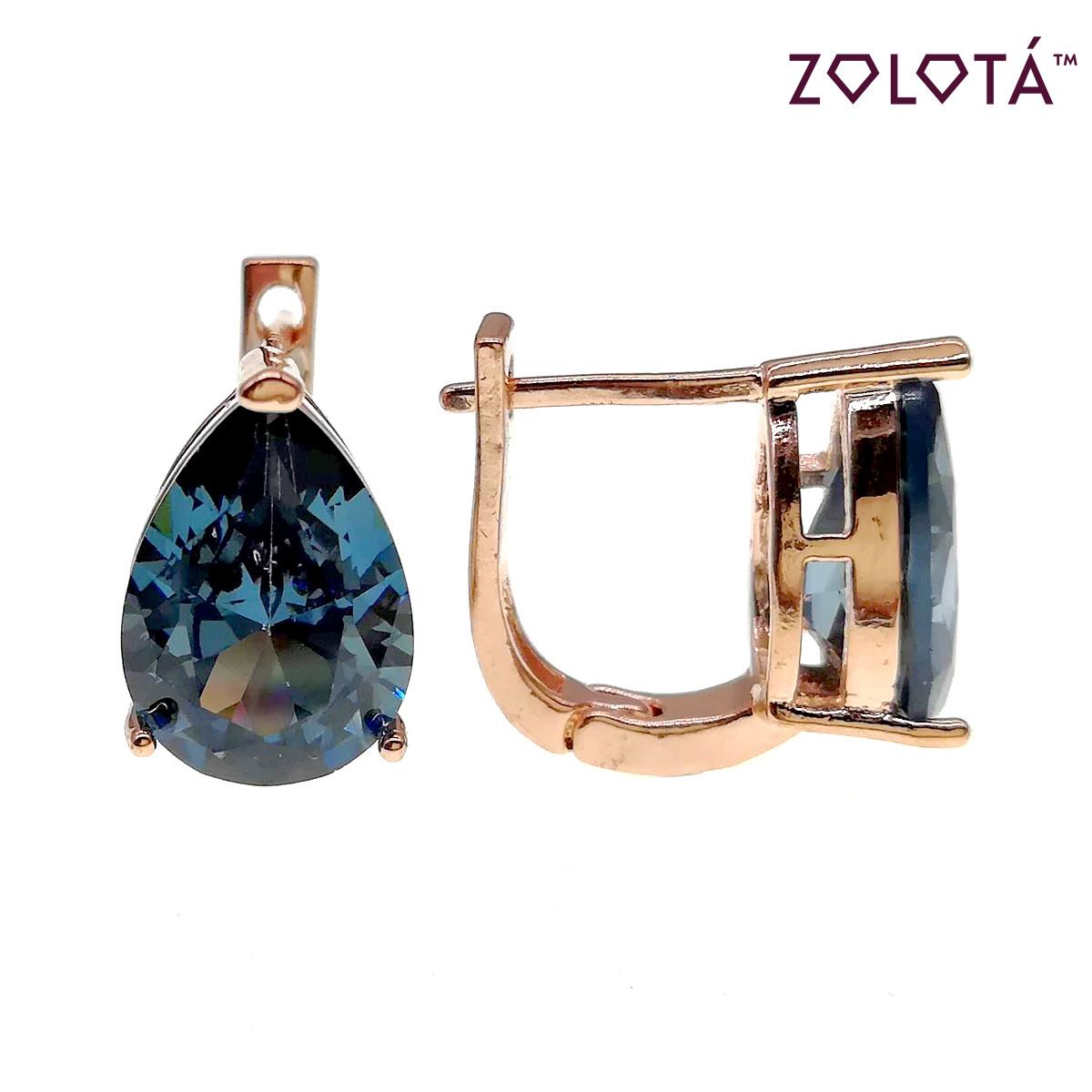 Серьги Zolota с голубыми фианитами (куб. цирконием), из медицинского золота, в позолоте, ЗЛ00525 (1)