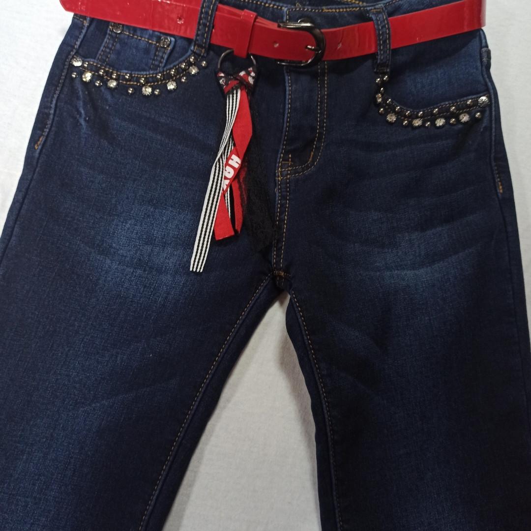 Джинсы теплые модные красивые нарядные синего цвета для девочки.  Утеплитель- флис.. Украшение-бусины.