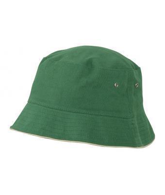 Хлопковая летняя подростковая панама под принт темно-зеленая с бежевым