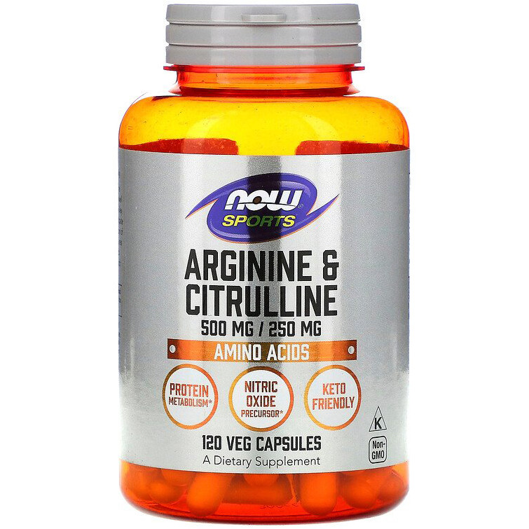 "Аргинин и цитруллин NOW Foods, Sports ""Arginine & Citrulline"" 500 мг / 250 мг (120 капсул)"