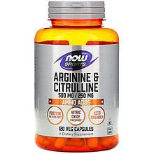 "Аргінін і цитрулін NOW Foods, Sports ""Arginine & Citrulline"" 500 мг / 250 мг (120 капсул)"