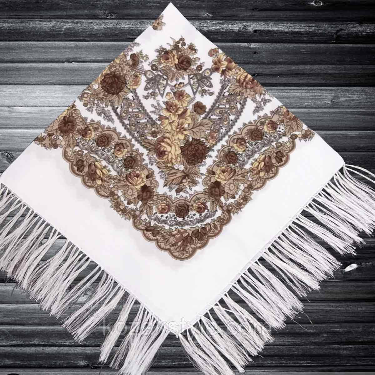 Хустка народна з бахромою (80х80) біло-коричнева